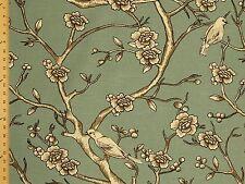 Dwell studio Vintage Blossom  Trees Birds Scenic Blue Upholstery Drapery Fabric