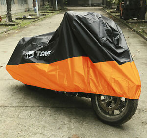 Orange XXXL Motorcycle Cover Waterproof Fit For Harley Road Street Glide Touring