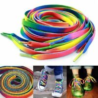 5Pair 110cm Rainbow Flat Shoelace Sports Shoe Laces Strings Strap Long Bootlaces