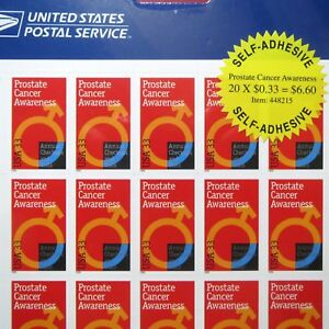 PROSTATE CANCER DAY >First DAY of ISSUE, UNUSED U.S. Stamp Sheet, NEW Condition