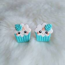 Funny congelado brighht Azul Cupcake Muffin Niñas Regalos Mini joyería Pendientes de alimentos