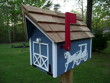 Amish Handmade Handcrafted Rural Mailbox w Flag USPS Lt. Blue Horse & Buggy