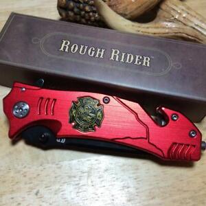 "Rough Rider Red Aluminum Firefighter Linerlock 4 3/4"" Folding Knife RR1812"