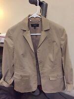 Talbots Petite Women's Stretch Blazer Jacket Beige Size 4 Cotton Blend