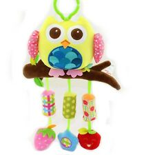 Baby infant owl activity rattle bell cot pram hanging bell developmental toy