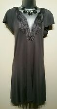 Size 8 Dress Top WALLIS Silver Grey Sequins Embroidered Tunic Great Condition