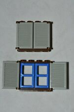 2 LEGO Old Brown Window 1x4x3 Blue Pane Old Gray Shutter 6761 6769 6762 Legoredo