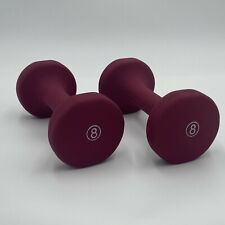 Set Of Two Maroon 8lb Dumbbell Hand Weights 16 Pounds Total