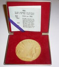 1964 Olympic Games Tokyo OFFICIAL MEDAL Olympic Torch Relay & CASE 24k. GOLD p.