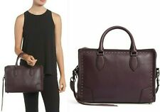 $295 Rebecca Minkoff Moonwalking Studded Leather Satchel Tote Bag in Dark Cherry