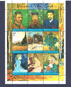 CHAD 2001 VINCENT VAN GOGH. PAINTINGS SOUVENIR SHEET. MNH. AWESOME COLLECTION. !