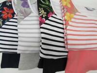 D & Co Striped Floral 3/4 Sleeve Shirt + Shorts SET Womens Choose Color + Size