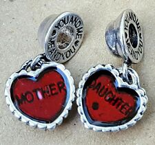 Mother Daughter Red Hearts Pair You & Me European Beads Charms MOTHER'S DAY GIFT