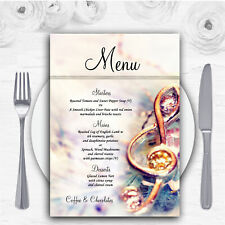 Music Treble Clef Personalised Wedding Menu Cards