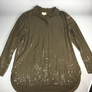 Anthropologie Maeve Sequin Button Front Shirt Medium Olive Green Long Sleeve