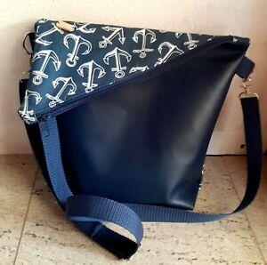 Damen Tasche FOLDOVER Handtasche  HANDMADE Umhängetasche Maritim