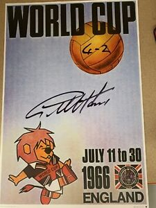 Sir Geoff Hurst signed 4-2 World Cup Willy poster from agent COA Value @ £19.66