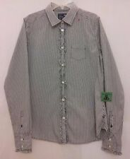 American Eagle M Long Sleeve Button Shirt Womens White Blue Stripe Cert Recycled