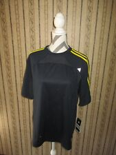NWT men's ADIDAS polyester navy blue/yellow SHIRT - size MED