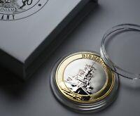 GERMAN BATTLESHIP BISMARCK Dual Metal Silver &Gold Commemorative in Gift Box WW2