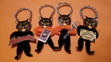 4 Vintage Style Halloween  Chenille Ornaments BLACK CATS