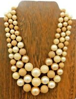 "Vintage Japan Brown Multi Strand Graduating Round Faux Pearl Choker 14"" Necklace"