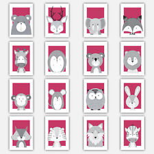 Art Print FOREST ANIMAL SKETCH Picture Poster Bright PINK GREY Nursery Baby Wall