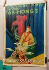 AFFICHE ORIGINALE ANCIENNE CHANG FAK HONG'S  MAGIE MAGICIEN ESPAGNE JAPON