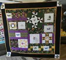 Handmade New Orleans Mardi Gras party mask Themed Custom quilted Lap quilt