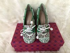 4585d373625 NIB  325 TORY BURCH FISHER GARDEN PARTY GREEN 110MM PATENT LEATHER PUMP 5.5