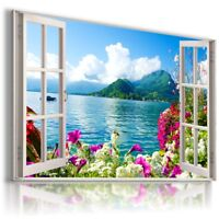 FLOWERS MOUNTAINS RIVER LAKE 3D Window Canvas Wall Art Picture W558 MATAGA .