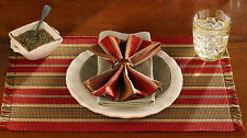 Contemporary Red and Gold Cinnabar Placemats & Napkins by Park Designs, 4 Each
