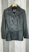 Marks & Spencer Grey 100% Leather Double Button Closure Longline Jacket Size 8