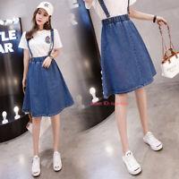 New Womens Denim Overall Dress Jean Dress Suspender Skirt A-Line Dress S-5XL