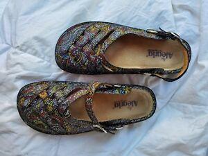 Alegria Womens Size 8.5 EU 39  Leather Comfort Shoes Mary Jane Strap Black