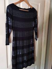 Womens Phase Eight Black Embellished Dress. Size 8