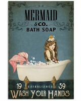 Bath Soap Company Mermaid Poster Art Print Decor 11x17 16x24 24x36