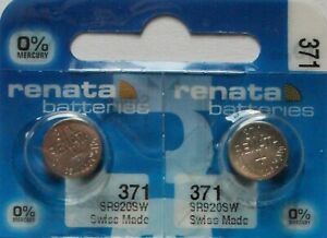 2 x Renata 371 V371 SR920SW SR69 AG6 35mAh 1,55V Knopfzelle Uhren Batterien