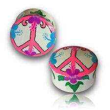 PAIR OF 0G 8MM HAND PAINTED WOOD PLUGS TUNNELS PLUG PEACE SIGN GAUGES