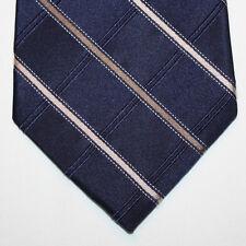 NEW Michael Kors Silk Neck Tie Dark Blue Navy with Metallic Beige Stripes 876