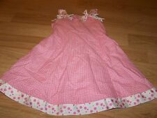 Girls Size 5 Bonnie Jean Pink White Checked Ribbon Polka Dot Easter Dress EUC