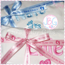 Personalised Baby Boys & Girls Gift Set, Bib,Vest & Sleepsuit Plus Wrap & Ribbon