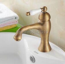 Vintage Antique Brass Bathroom Basin Faucet Deck Mount Single Handle Mixer Tap