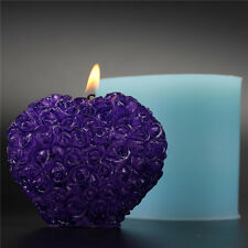 3D Heart Rose Silicone Candle Mould Soap Moulds DIY Chocolate Candy Craft Clay