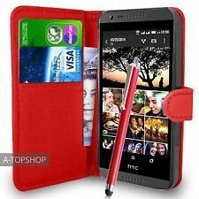 Red Wallet Case PU Leather Book Cover For  HTC DESIRE 620 620G Mobile