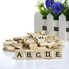 100 PCs Wooden Alphabet Scrabble Tiles Black Numbers & Letters For Crafts Wood