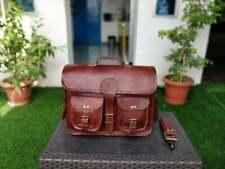 Men's New Real Goat Leather Brown Messenger Shoulder Laptop Bag Briefcase