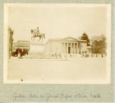Suisse, Genève, Statue du Général Dufour et Musée Rath, ca.1900, vintage citrate