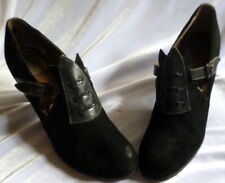 Vintage 1920s-1930s Black Suede & Leather Shoes Size 6