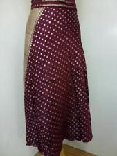 Señoras Borgoña indio Reciclado Sari envolver falda Pantorrilla (SB-WRP-3)